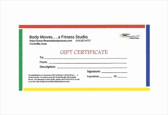 Fitness Gift Certificate Template Awesome 3 Fitness Gift Certificate Templates – Free Sample Example format Download