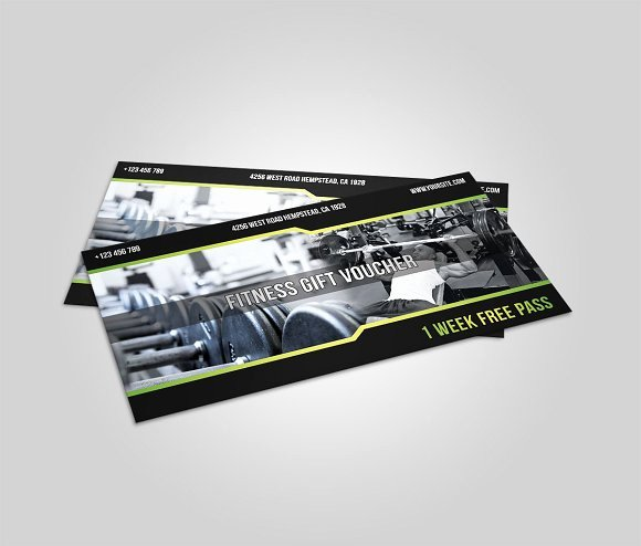 Fitness Gift Certificate Template Beautiful Fitness T Voucher Card Templates Creative Market