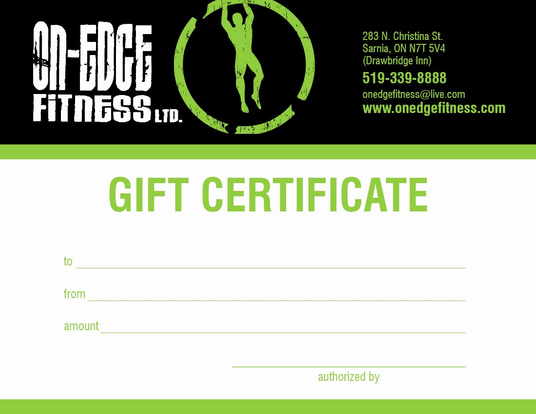 Fitness Gift Certificate Template Luxury Facilities
