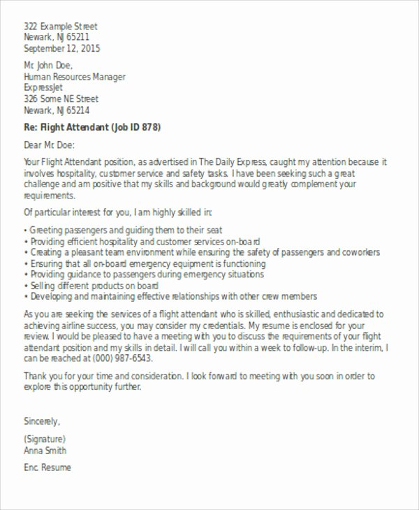 Flight attendant Cover Letter Elegant Flight attendant Cover Letter 9 Free Word Pdf format Download