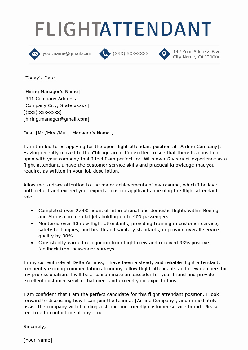 Flight attendant Cover Letter Elegant Flight attendant Cover Letter Sample Free Download