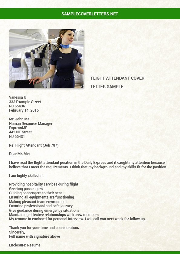 Flight attendant Cover Letter Elegant Flight attendant Cover Letter Sample