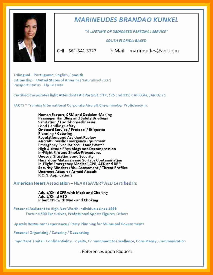 Flight attendant Resume No Experience Awesome 8 Cv for Flight attendant No Experience Example