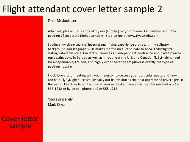 Flight attendant Resume No Experience Fresh Flight attendant Cover Letter