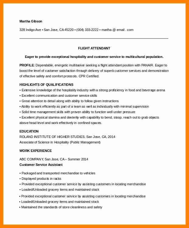 Flight attendant Resume No Experience Luxury 8 Cv for Flight attendant No Experience Example