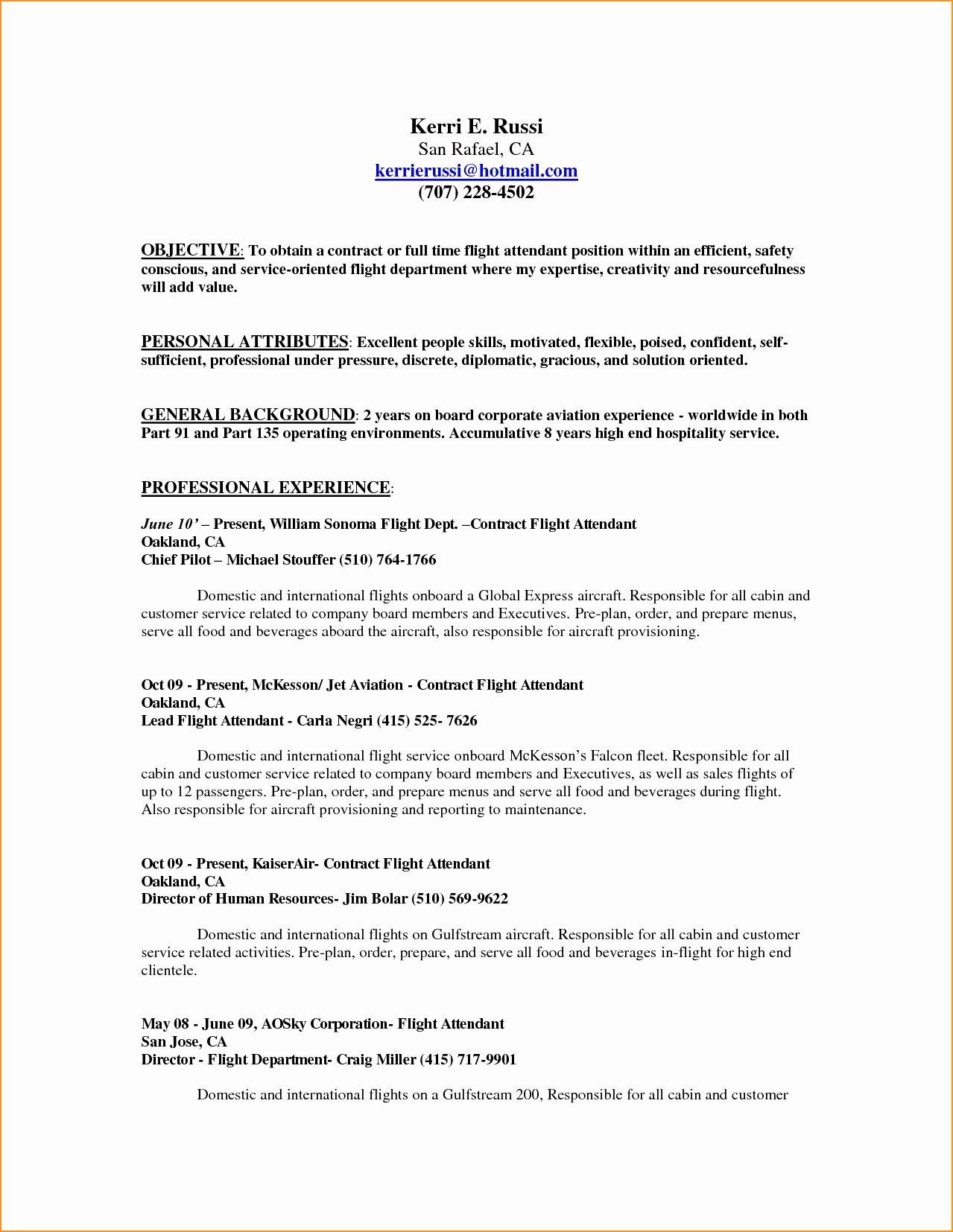 Flight attendant Resume No Experience Luxury Flight attendant Sample Resume No Prior Experience