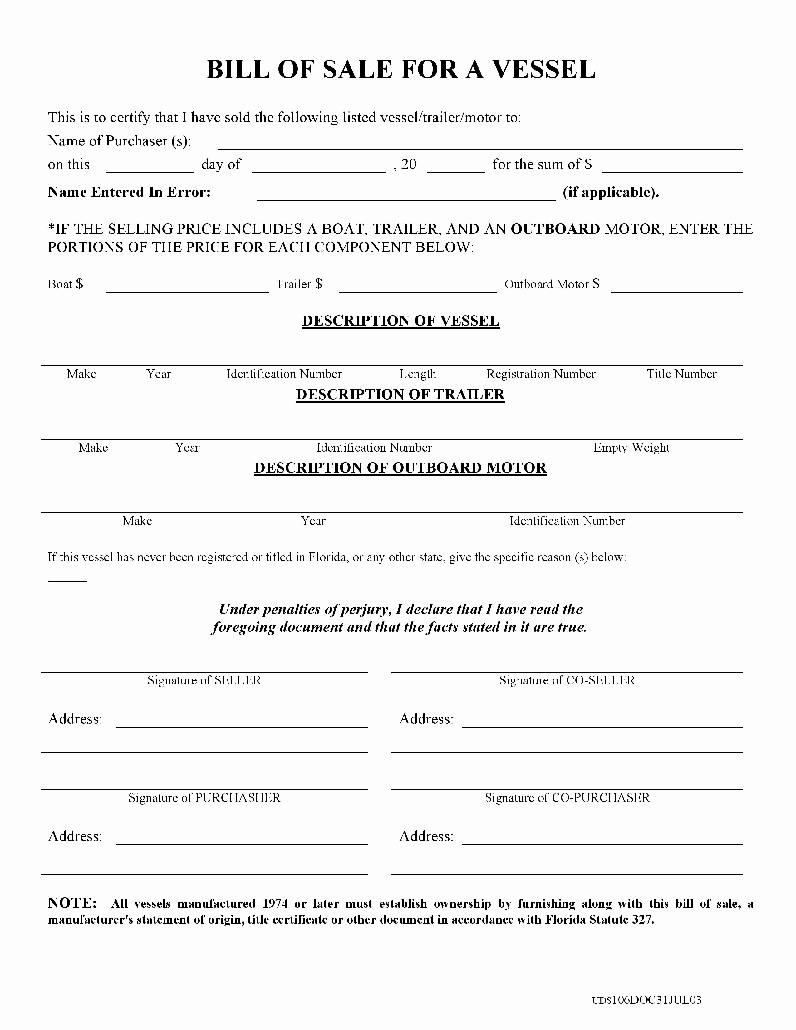 Florida Gun Bill Of Sale Best Of Free Florida Boat Bill Of Sale form Pdf