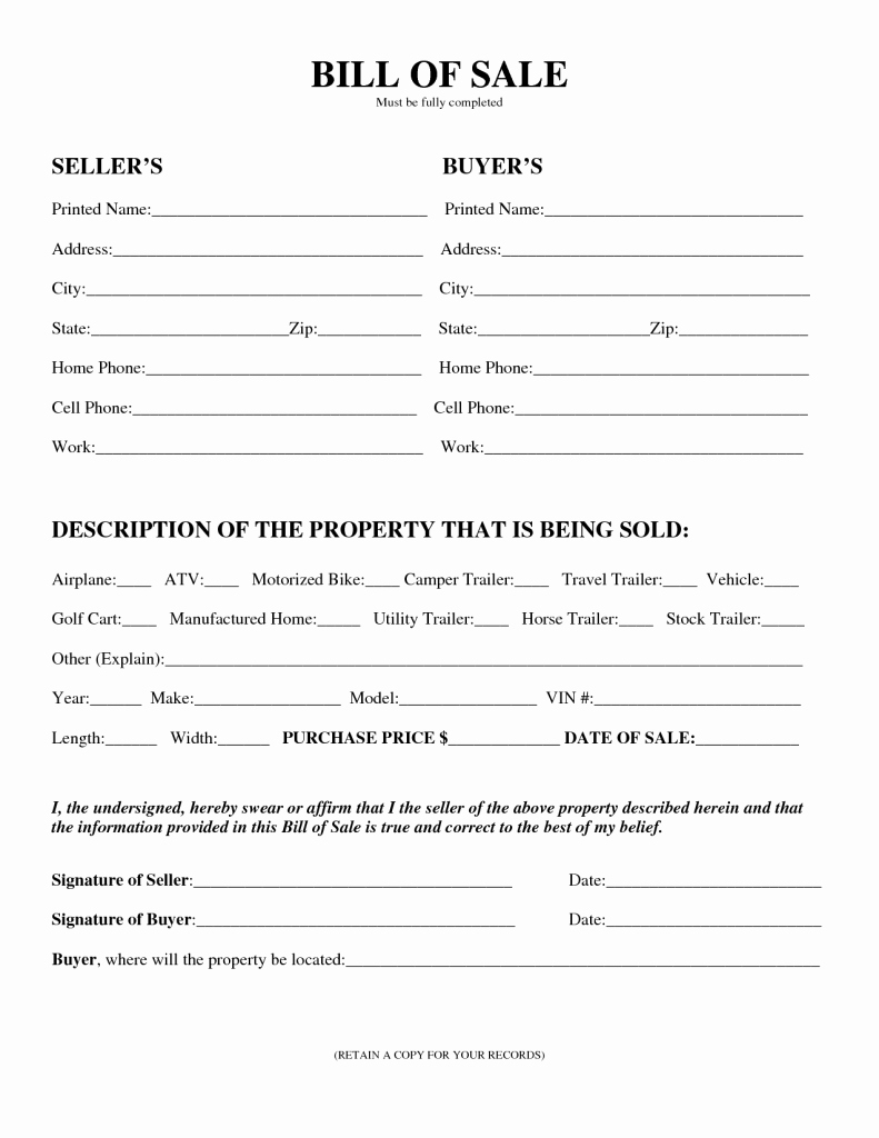 Florida Gun Bill Of Sale Elegant Free Printable Motorcycle Bill Of Sale form Generic