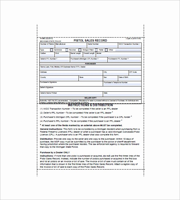 Florida Gun Bill Of Sale New Gun Bill Of Sale 10 Free Sample Example format Download
