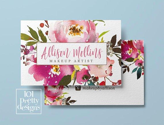 Florist Business Cards Design Awesome Floral Business Card Design Watercolor Business Card Flowers