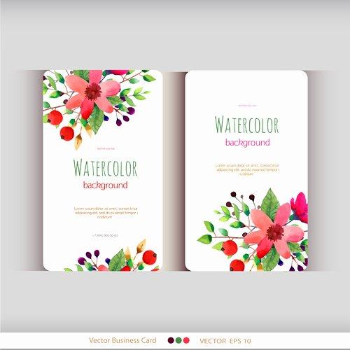 Florist Business Cards Design Beautiful Beautiful Watercolor Flower Business Cards Vector Set 04
