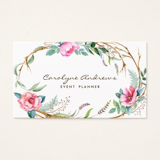 Florist Business Cards Design Beautiful Pink Watercolor Bohemian Floral Wreath Business Card