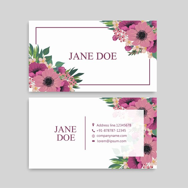 Florist Business Cards Design Elegant Cute Floral Pattern Business Card Name Card Design