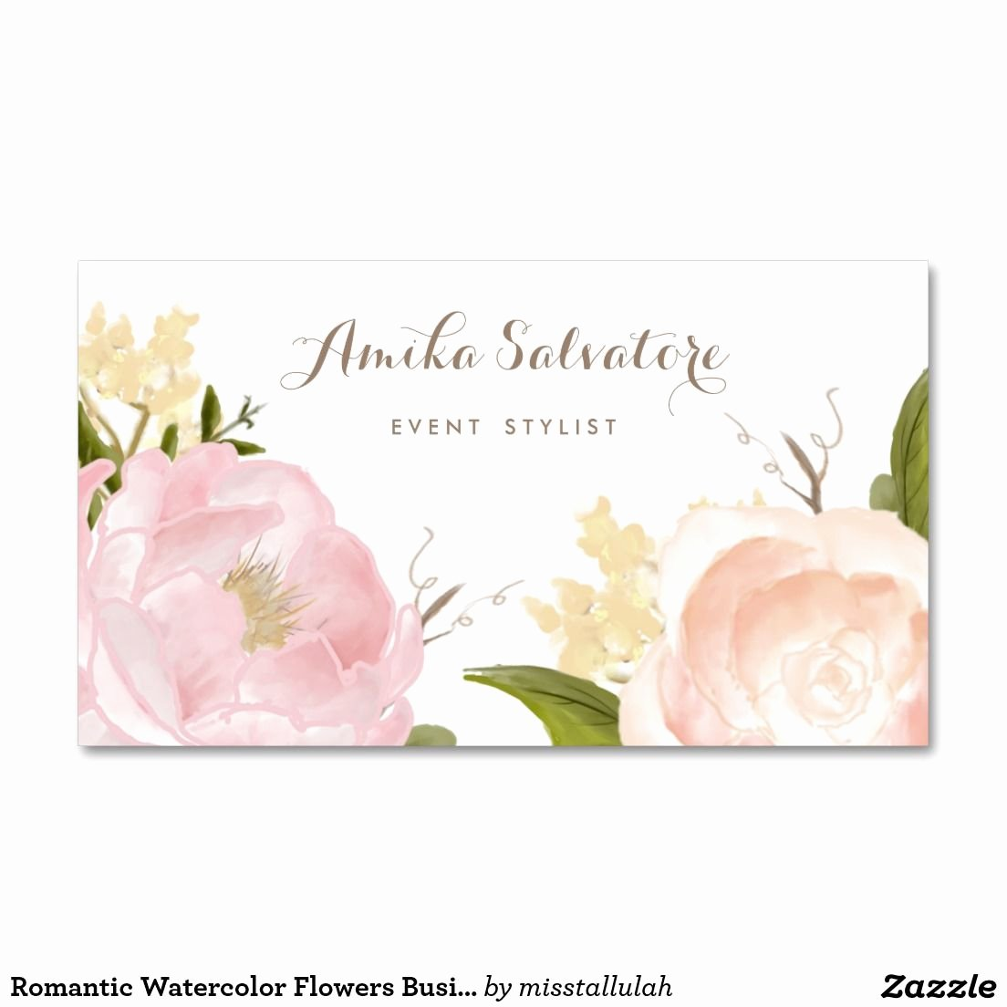 Florist Business Cards Design Fresh Romantic Watercolor Flowers Business Card