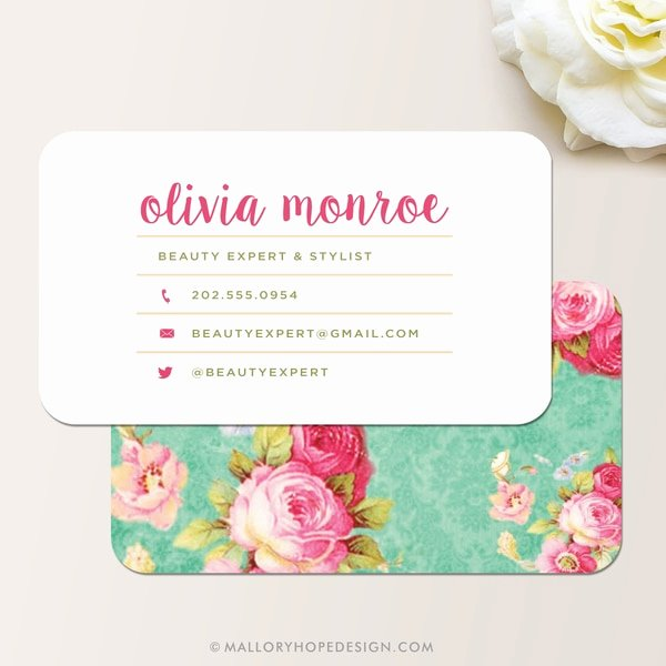 Florist Business Cards Design Inspirational Vintage Floral Business Card Mallory Hope Design