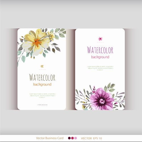 Florist Business Cards Design Lovely Beautiful Watercolor Flower Business Cards Vector Set 15