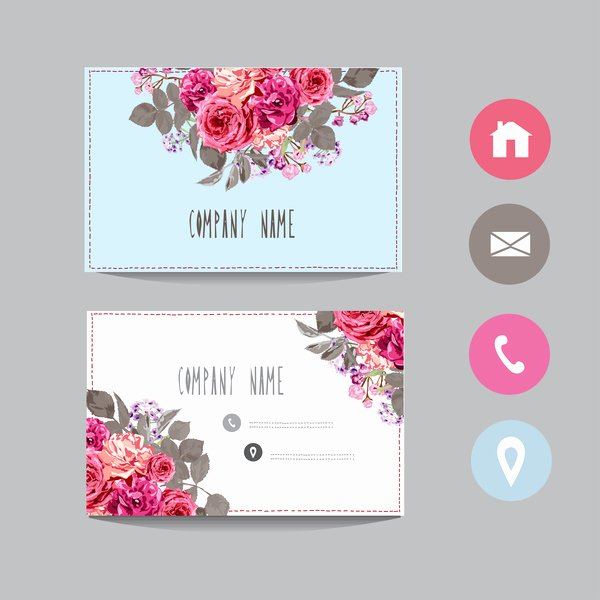 Florist Business Cards Design New Flower Business Card Template with society Icons Vector 14
