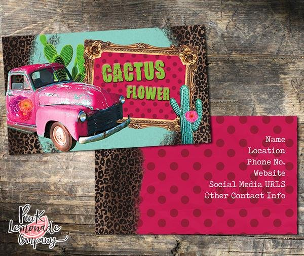 Flower Shop Business Cards Beautiful Cactus Flower Business Card – Pink Lemonade Pany