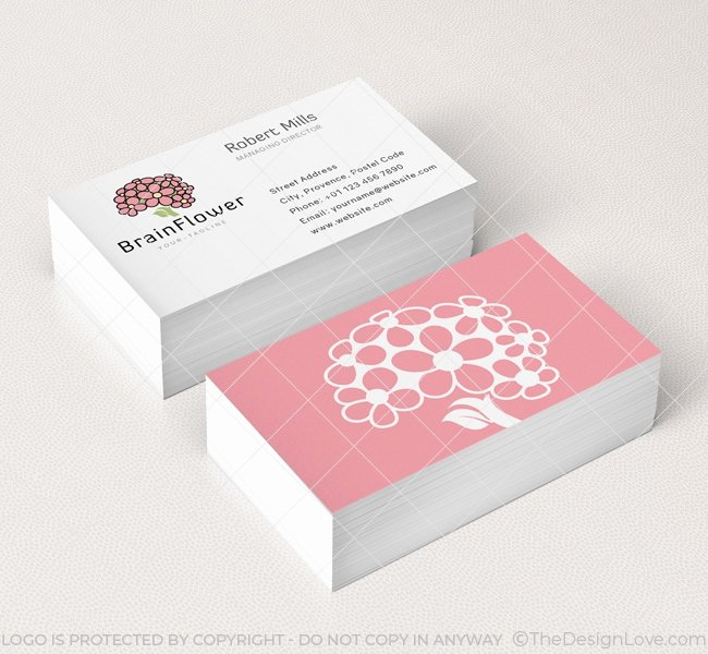 Flower Shop Business Cards Elegant Brain Flower Logo & Business Card Template the Design Love