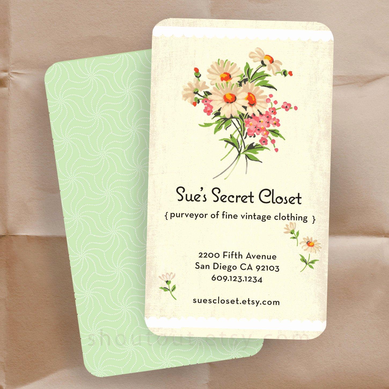 Flower Shop Business Cards Inspirational Business Cards Vintage Floral Fabric Personalized Shop