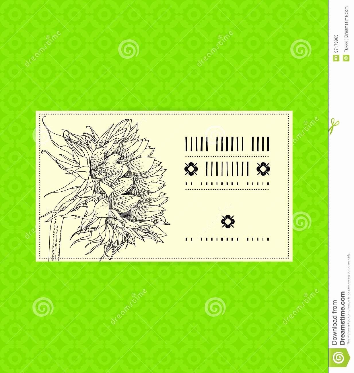 Flower Shop Business Cards Lovely Vintage Card with Sunflower Royalty Free Stock Image