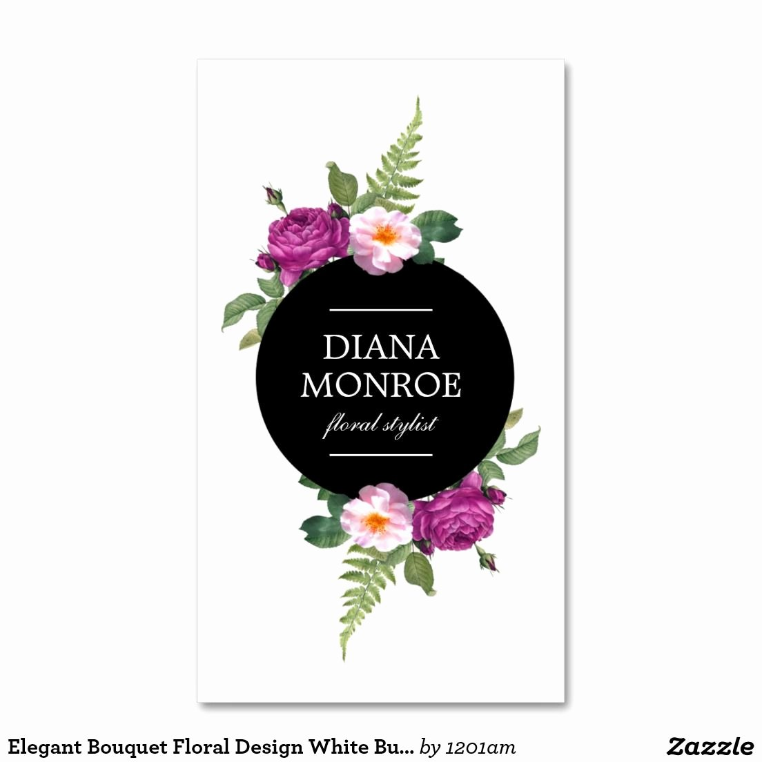 Flower Shop Business Cards Luxury Modern Circle Floral Wreath White Business Card