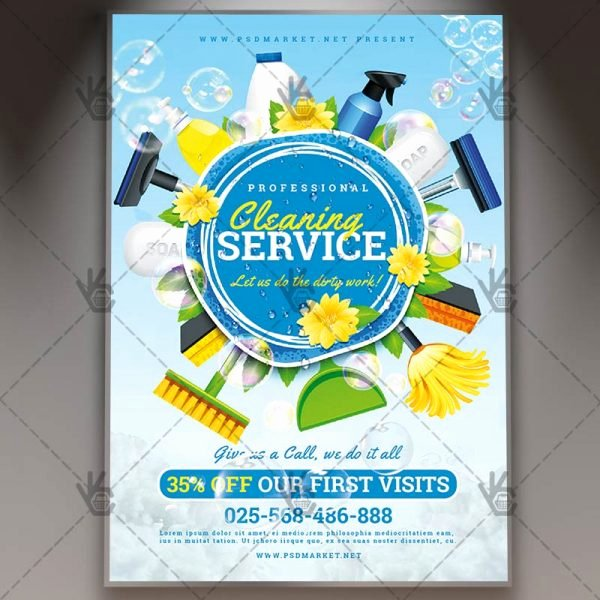Flyer for Cleaning Service Awesome Cleaning Service Premium Flyer Psd Template