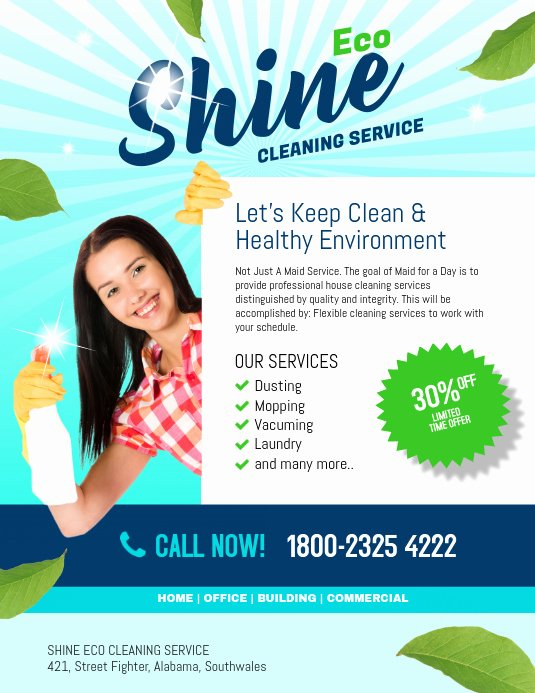 Flyer for Cleaning Service New Copy Of Shine Eco Cleaning Service