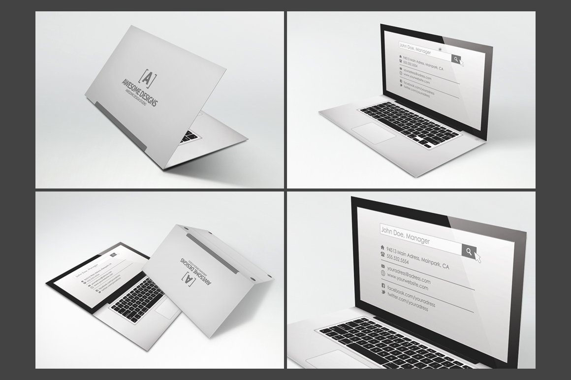 Foldable Business Card Template Awesome Laptop Folded Business Card Template Business Card Templates On Creative Market