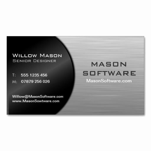 Foldable Business Card Template Luxury Cool Black and Steel Folded Technology Bus Card
