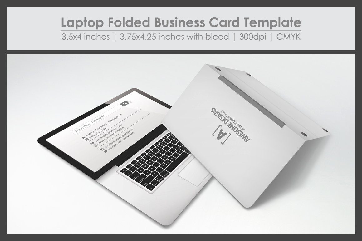 Foldable Business Card Template Luxury Laptop Folded Business Card Template Business Card Templates On Creative Market