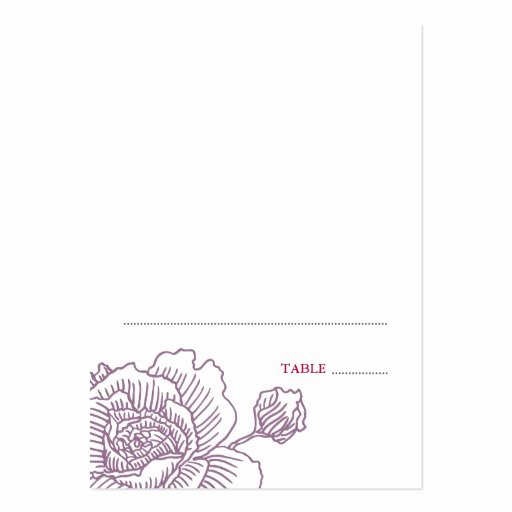 Folded Business Card Templates Fresh Hand Drawn Rose Folded Place Cards Purple Business Card Templates