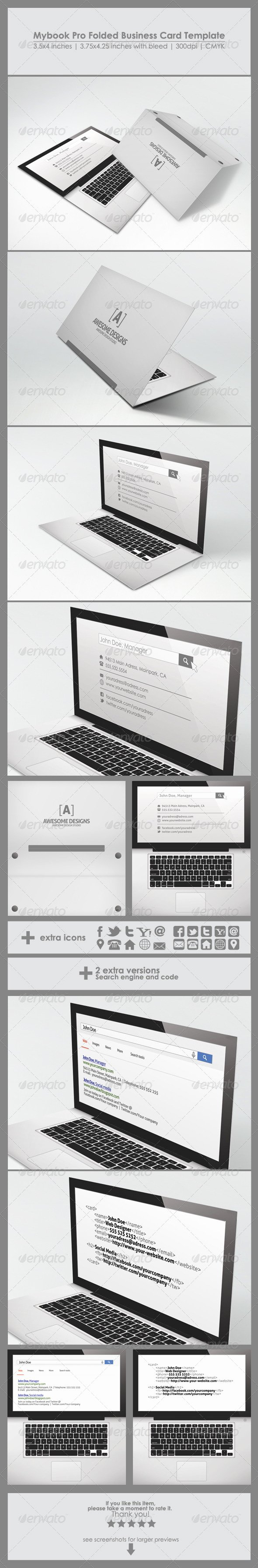 Folded Business Card Templates Luxury Mybook Pro Folded Business Card Template