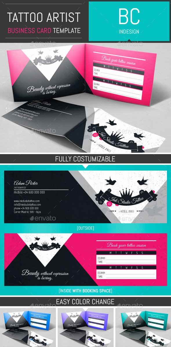 Folded Business Cards Template Best Of Tattoo Artist Folded Business Card Template by Dogmadesign