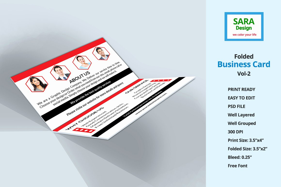 Folded Business Cards Template New Corporate Folded Business Card Vol 2 Business Card Templates On Creative Market