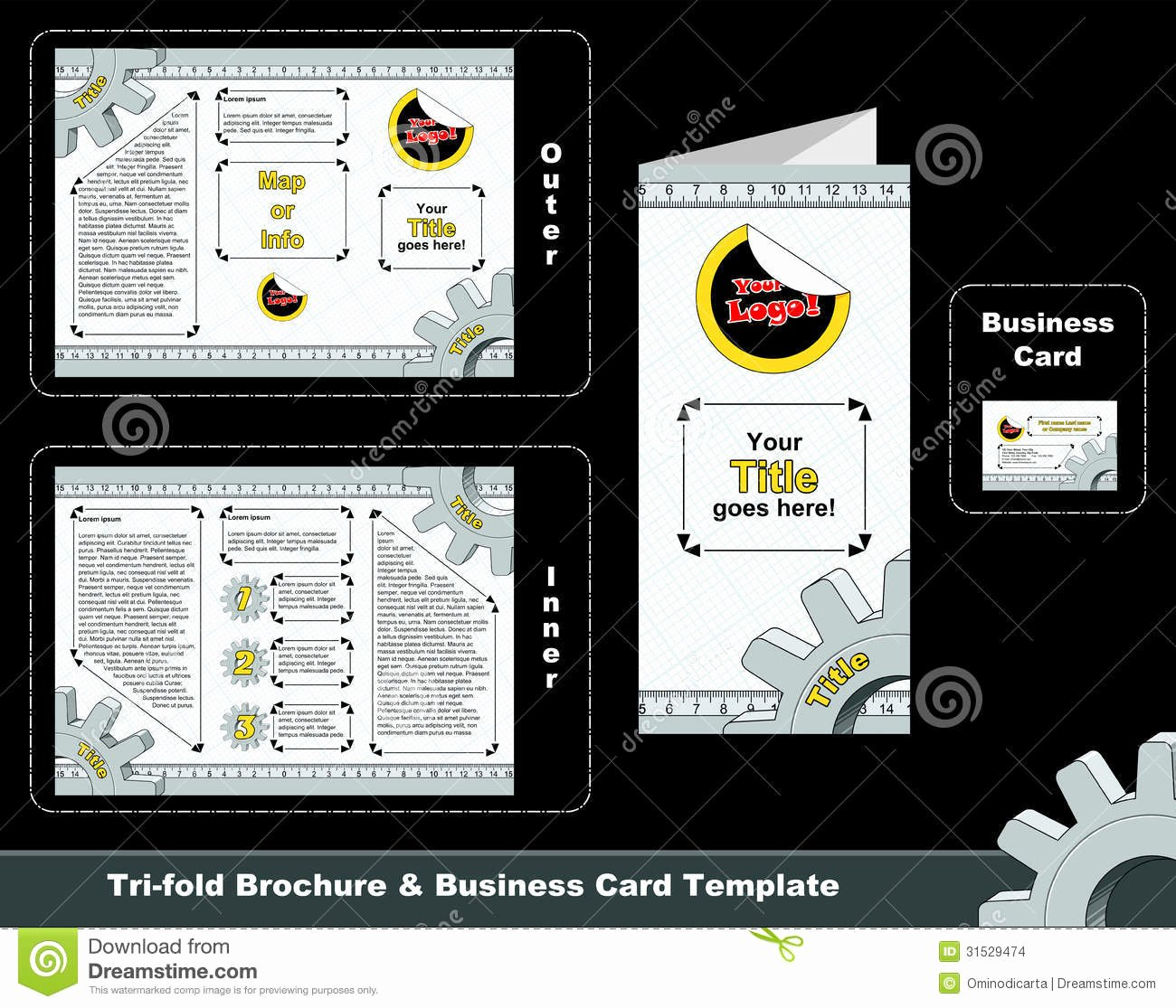 Folding Business Card Templates Awesome Tri Fold Depliant and Business Card Template Stock Image