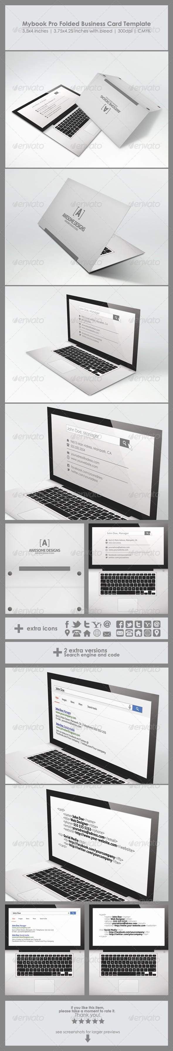 Folding Business Card Templates Luxury Mybook Pro Folded Business Card Template by Zeppelin Graphics