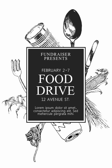 Food Drive Flyer Ideas Fresh Black and White Printable Food Drive Flyer Template