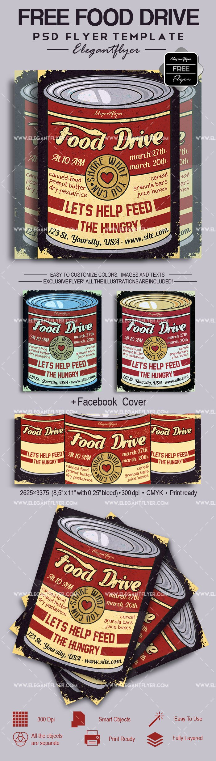 Food Drive Flyer Template Beautiful Food Drive – Free Flyer Psd Template – by Elegantflyer