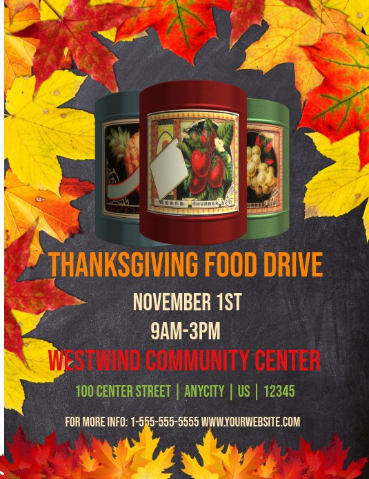 Food Drive Flyer Template Beautiful Thanksgiving Food Drive Template