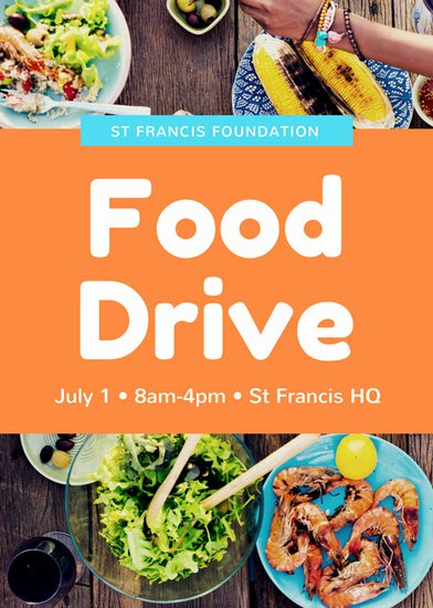 Food Drive Flyer Template Fresh Blue orange Food Drive Volunteer Flyer Templates by Canva