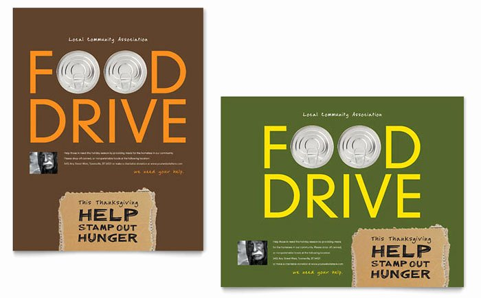 Food Drive Flyer Template Inspirational Holiday Food Drive Fundraiser Poster Template Design