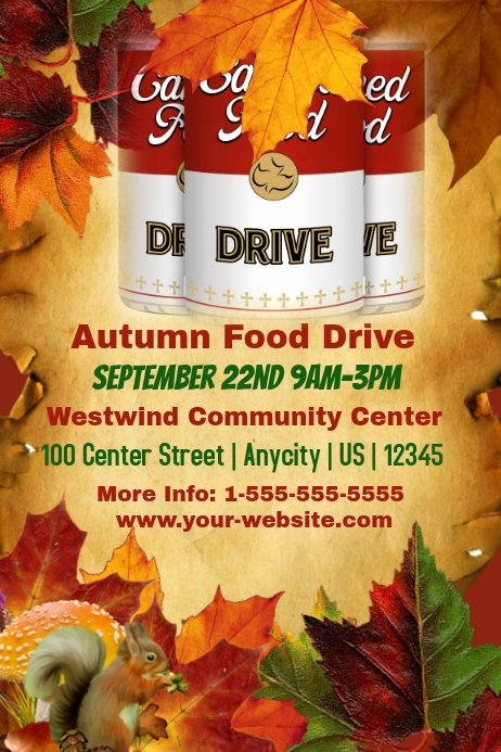 Food Drive Flyer Template New Autumn Food Drive Template