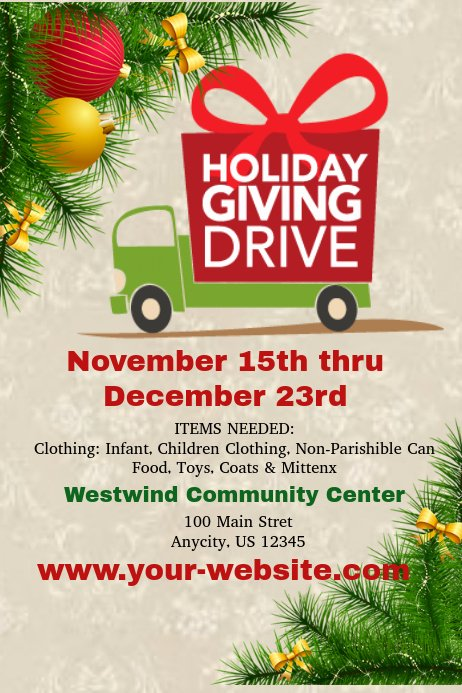 Food Drive Flyer Template New Holiday Giving Drive Template