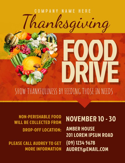 Food Drive Flyer Template New Thanksgiving Food Drive Flyer Template