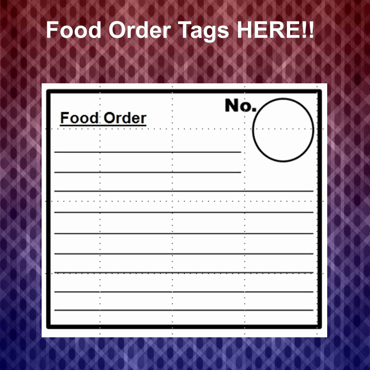 Food order form Template Awesome Food order Docket form Template
