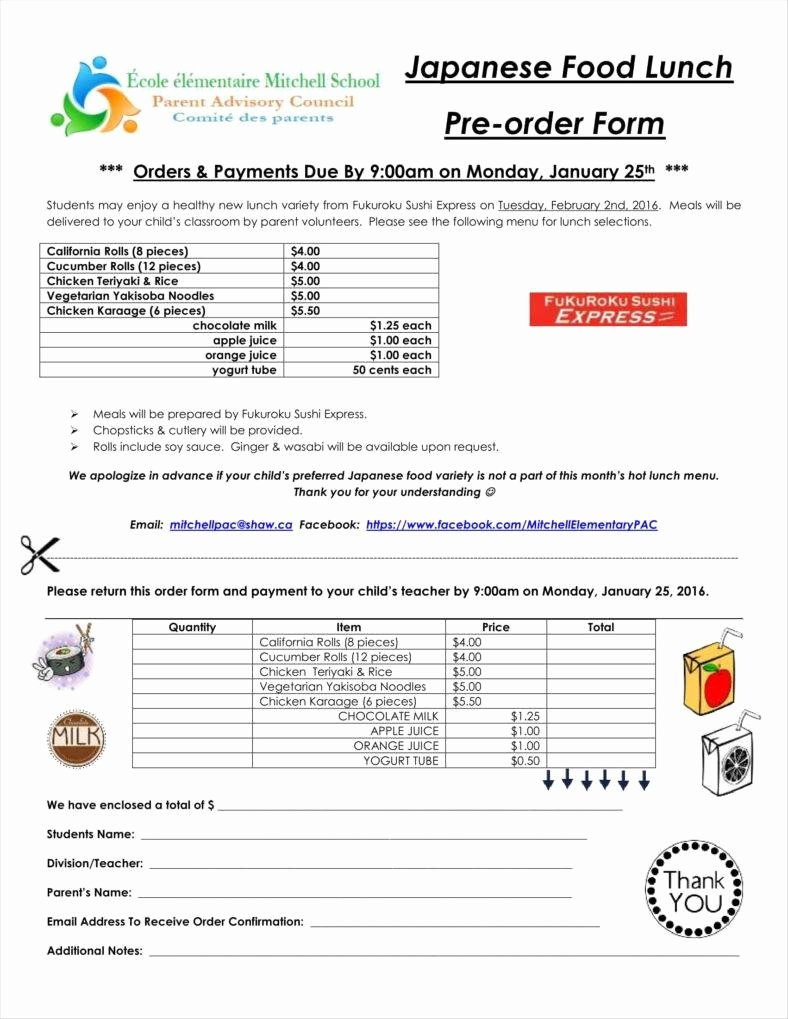 Food order form Template Beautiful 10 Food order form Templates Word Docs