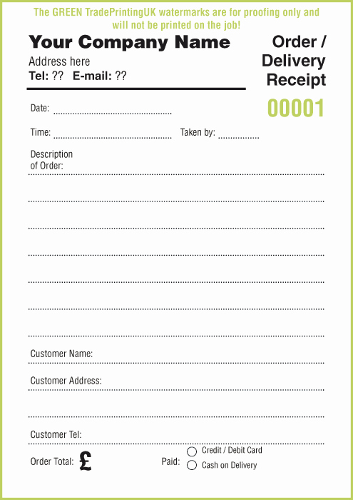 Food order form Template Beautiful Receipt Pads £35 Using Free Receipt Pads Templates