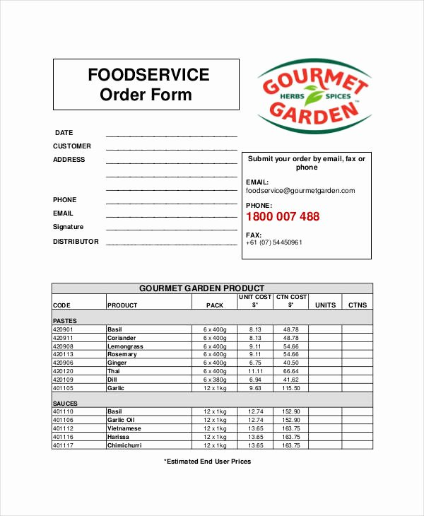 Food order form Template Best Of Free 35 Service form In Templates