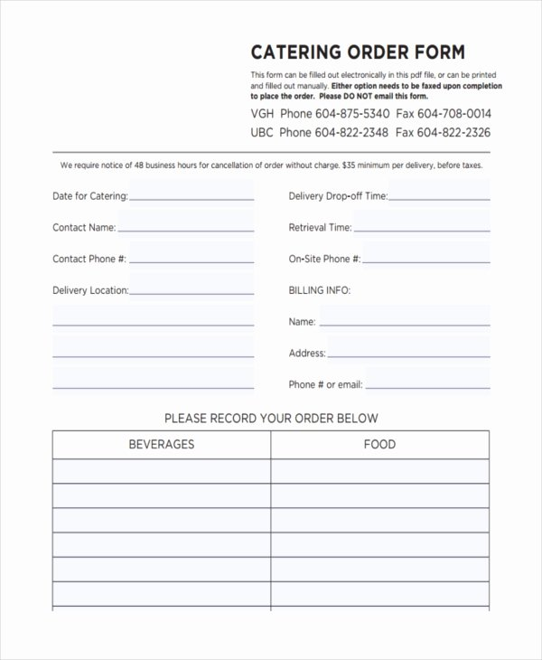 Food order form Template Elegant 36 Free order forms